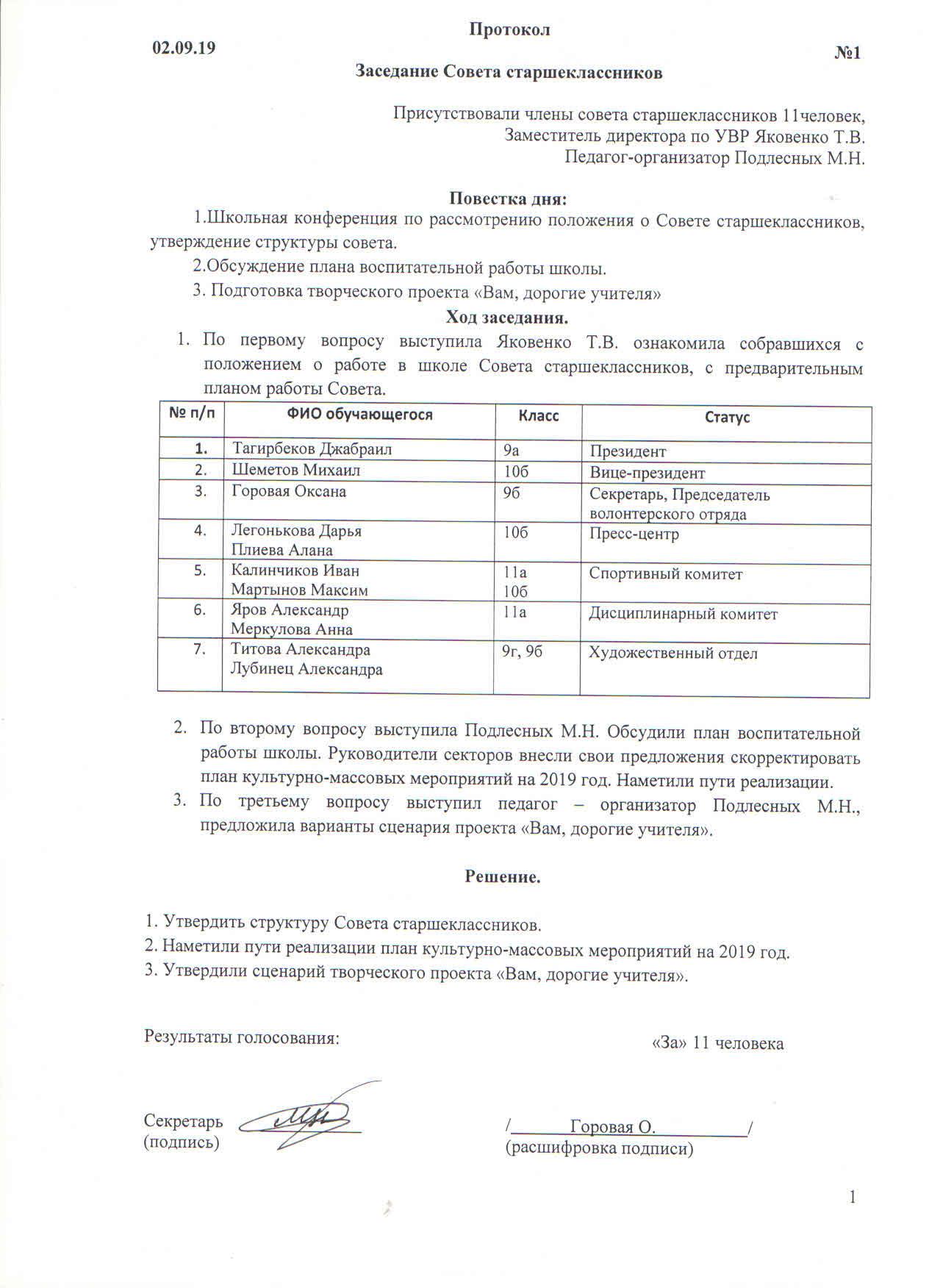 Протокол заседания Совета старшеклассников № 1